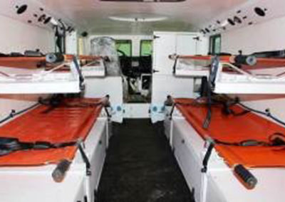 Ambulance interior stretchers.